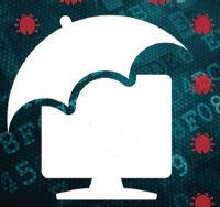 graphic of umbrella over computer