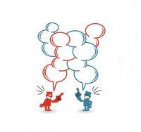 cartoon figures arguing