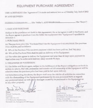 Terabayashi purchase agreement