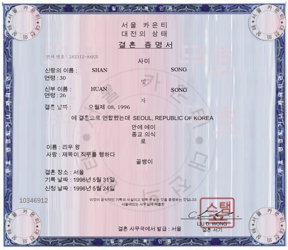 Copy Of Divorce Certificate: Separation Agreement Scam Using The Name Huan Song (or