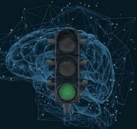 stoplight in front of brain